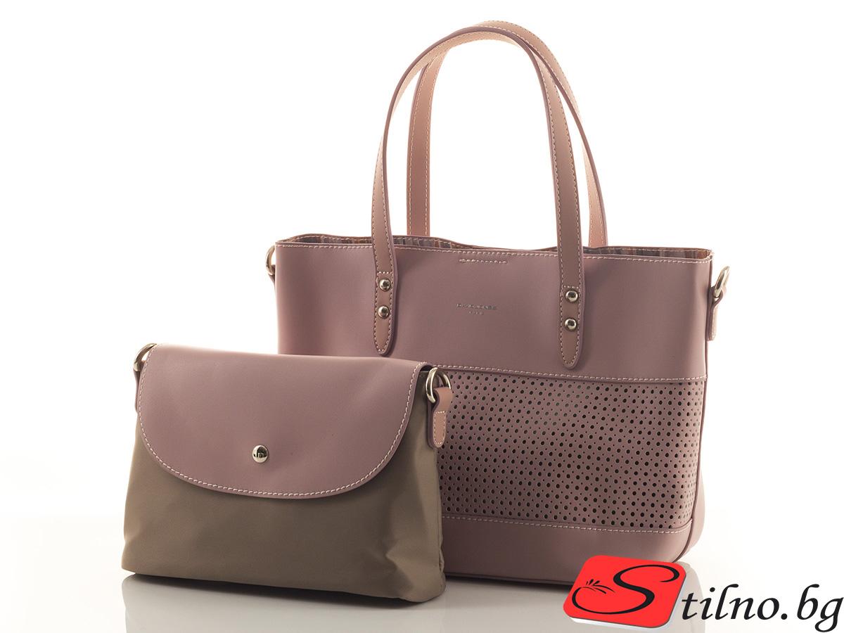 Дамска чанта David Jones 5763-345 - Тъмно розова