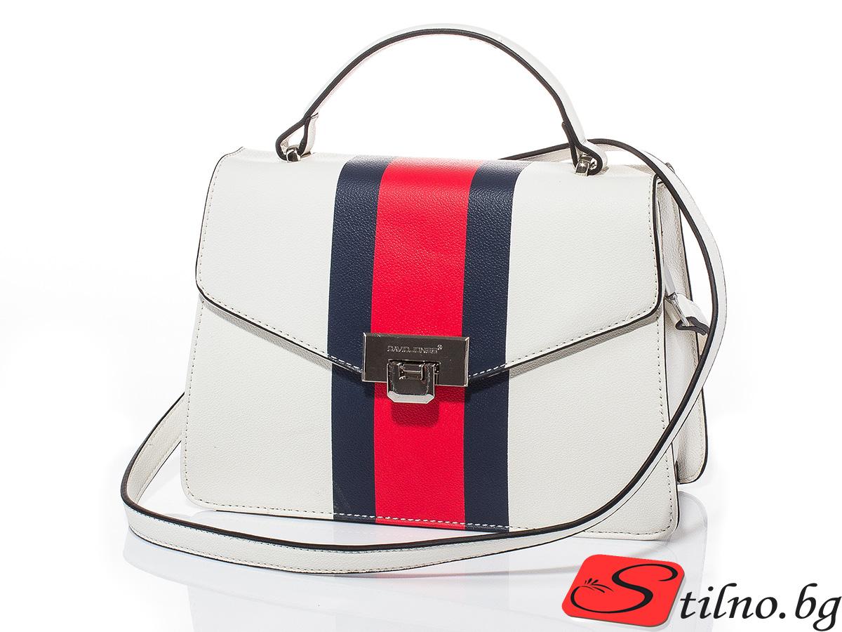 Дамска чанта през рамо David Jones 6000-101 - Бяла