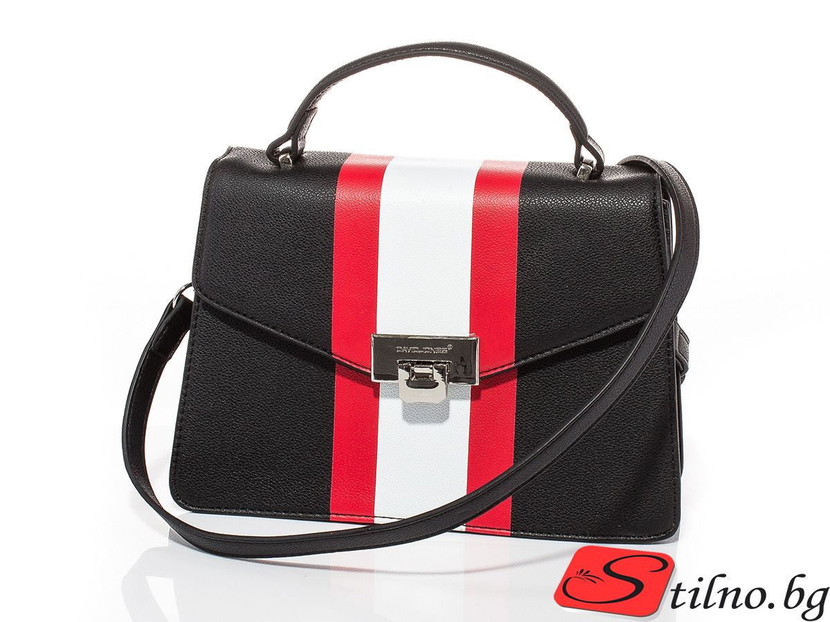 Дамска чанта през рамо David Jones 6000-108 - Черна