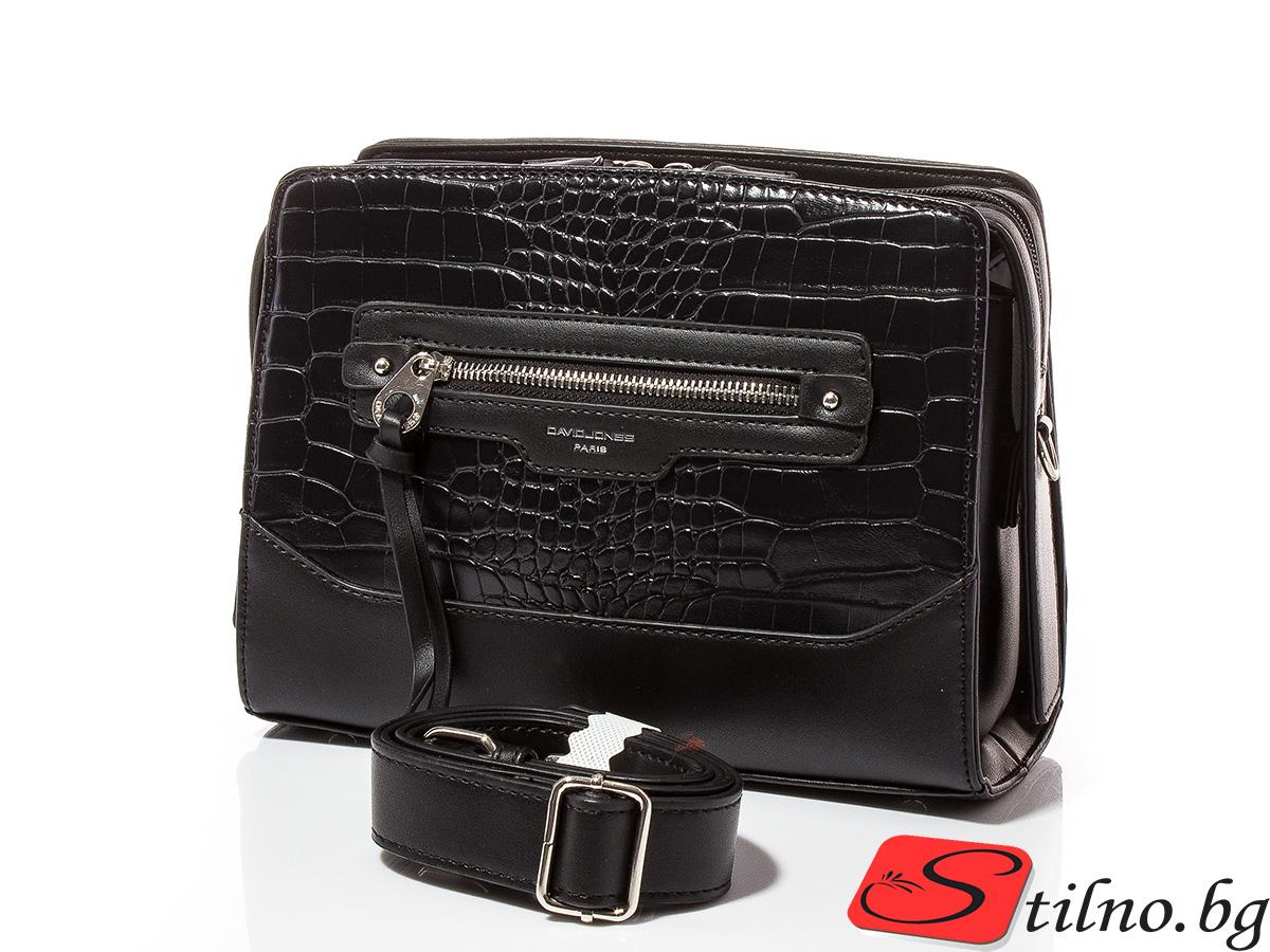 Дамска чанта през рамо David Jones 6108-108 - Черна