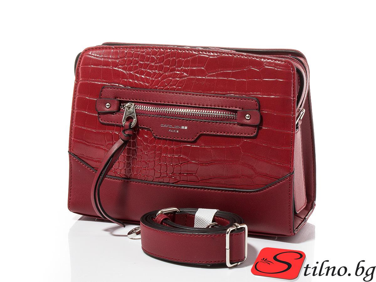 Дамска чанта през рамо David Jones 6108-123 - Бордо