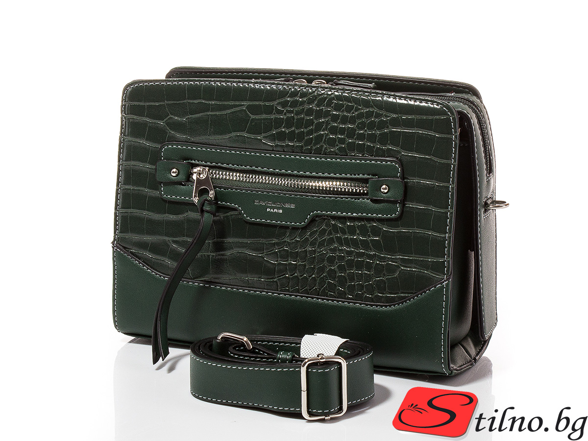Дамска чанта през рамо David Jones 6108-142 - Тъмнозелена