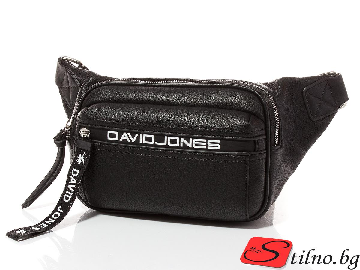 Дамска чанта за кръст/рамо David Jones 6166-108 - Черна