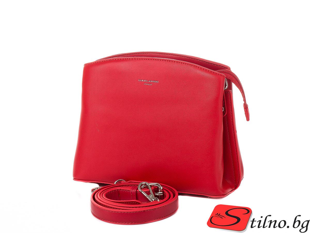 Дамска чанта през рамо David Jones 6308-140 - Тъмночервен