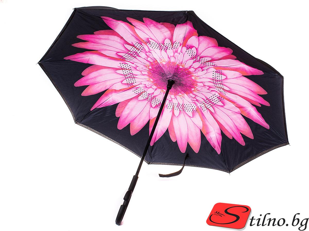 Обърнат дамски чадър, Двупластов U1003-00 - Цветен