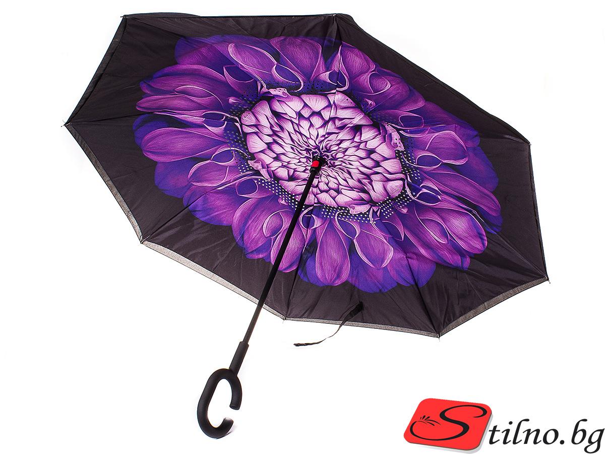 Обърнат дамски чадър, Двупластов U1005-00 - Цветен