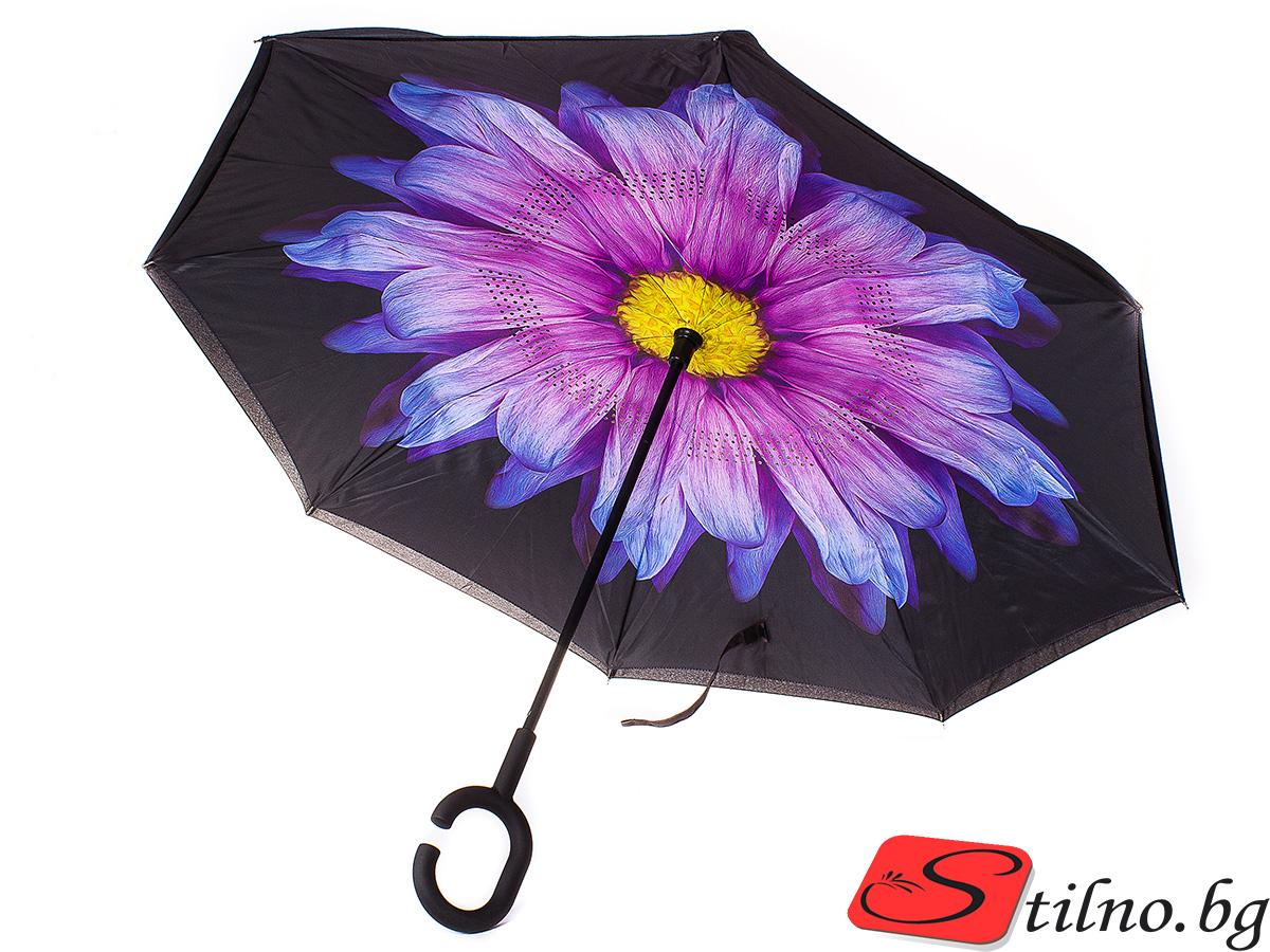 Обърнат дамски чадър, Двупластов U1006-00 - Цветен