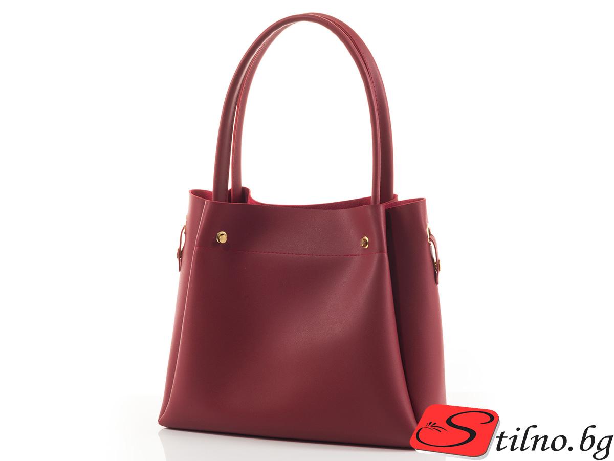 Дамска Чанта 2в1 Маги 1497-40 - Тъмно червена