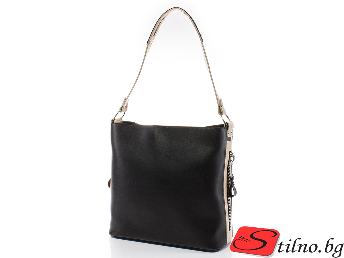 Дамска чанта Грета 1563-0806 - Черен/Бежов