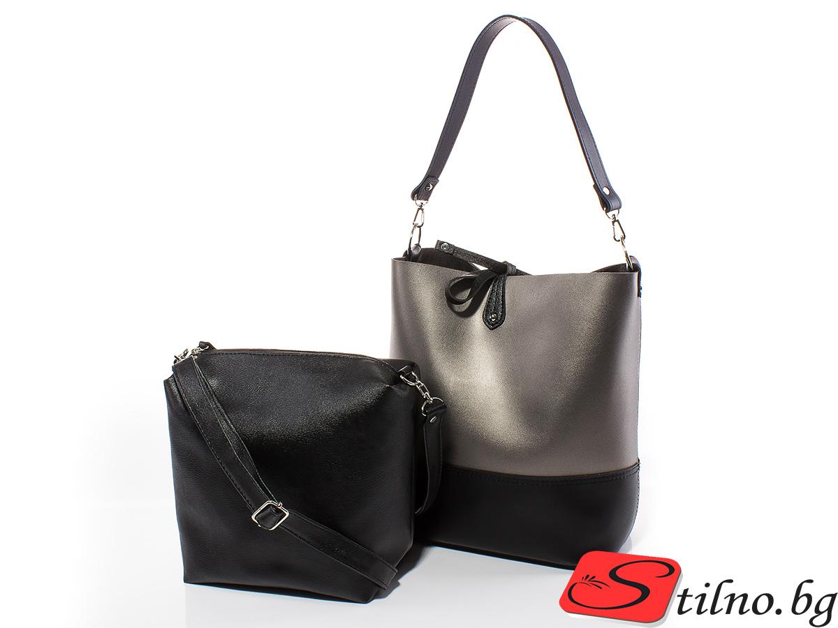 Дамска чанта Кристин 1576-47 - Тъмно сребро