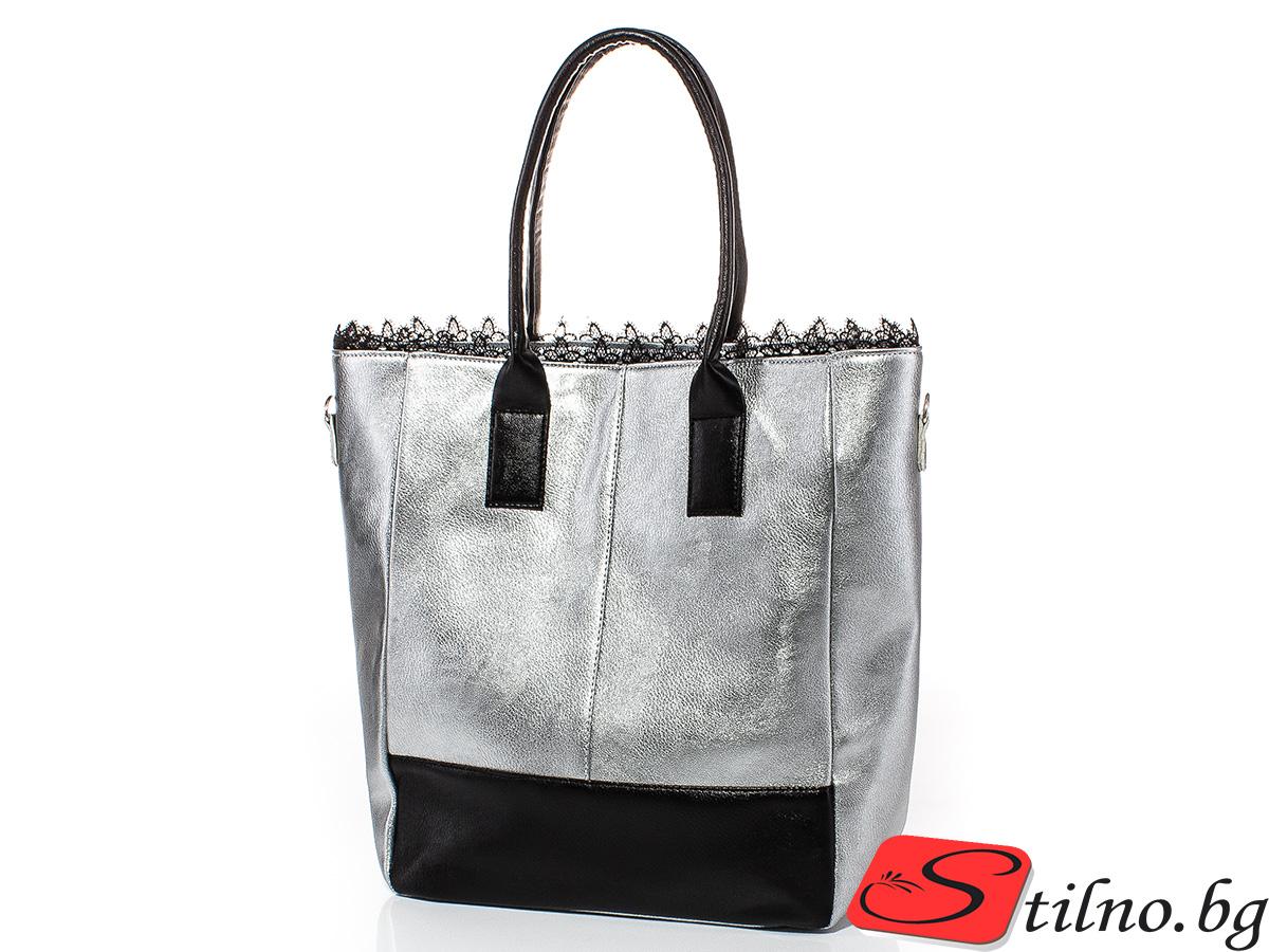 Дамска чанта Таня 1589-11 - Сребриста