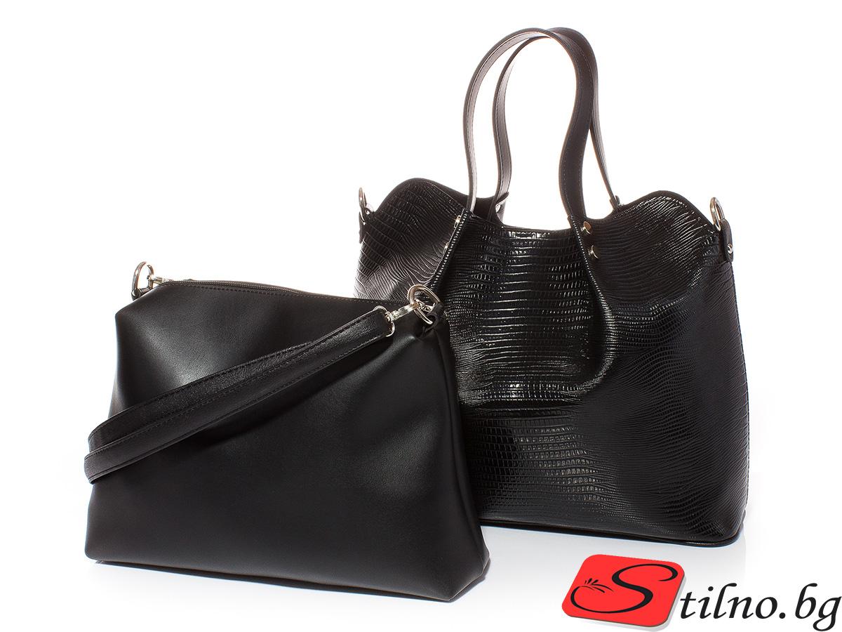 Дамска чанта 2 в 1 Марго 1611-08 - Черна
