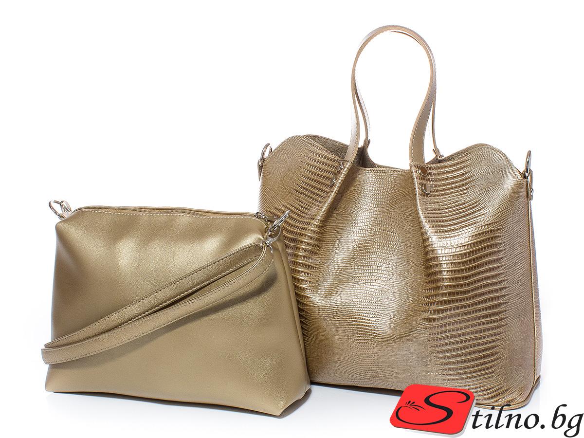 Дамска чанта 2 в 1 Марго 1611-12 - Златиста