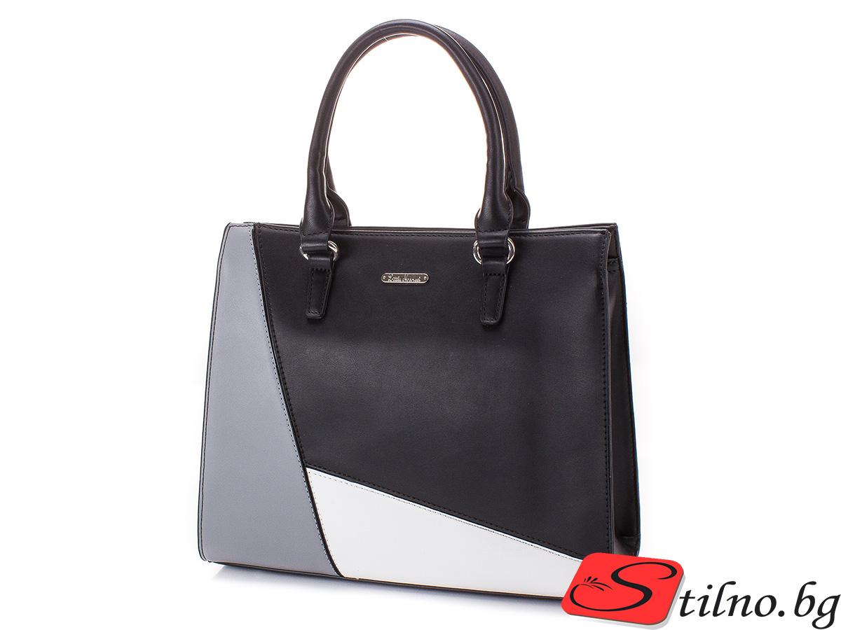 Елегантна дамска чанта Стефи 1654-08 - Черна