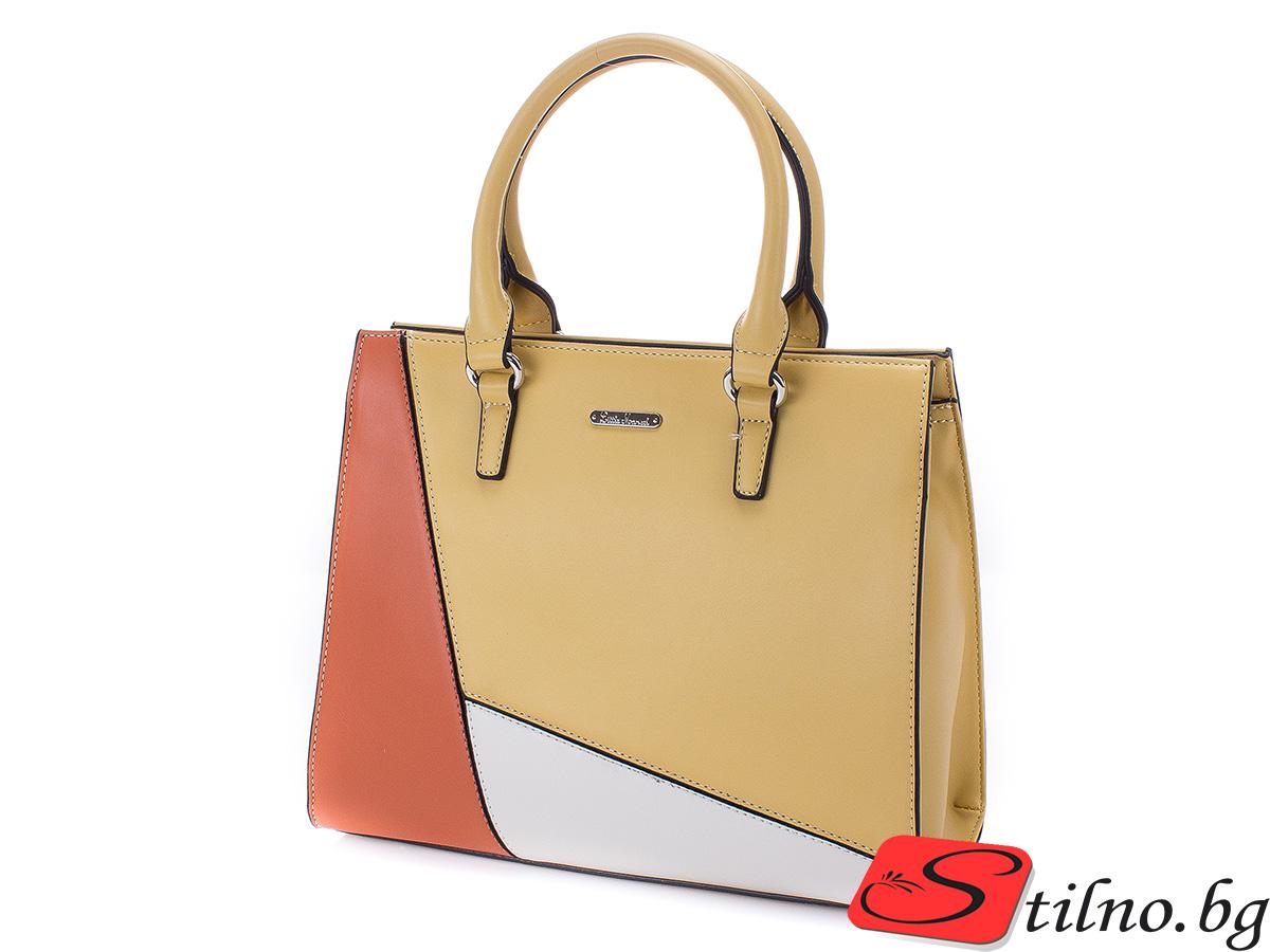Елегантна дамска чанта Стефи 1654-49 - Горчица