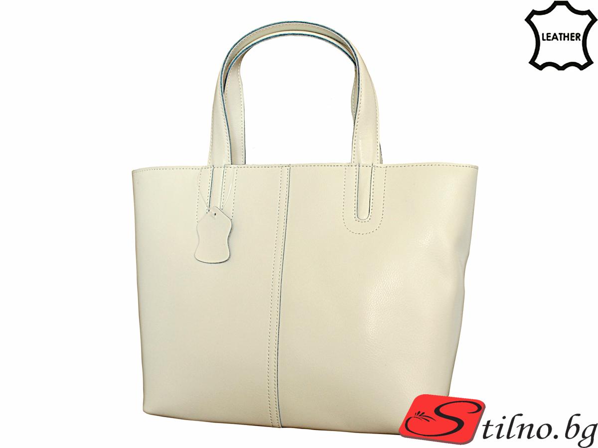 Дамска Чанта Естествена Кожа Кики - Бяла
