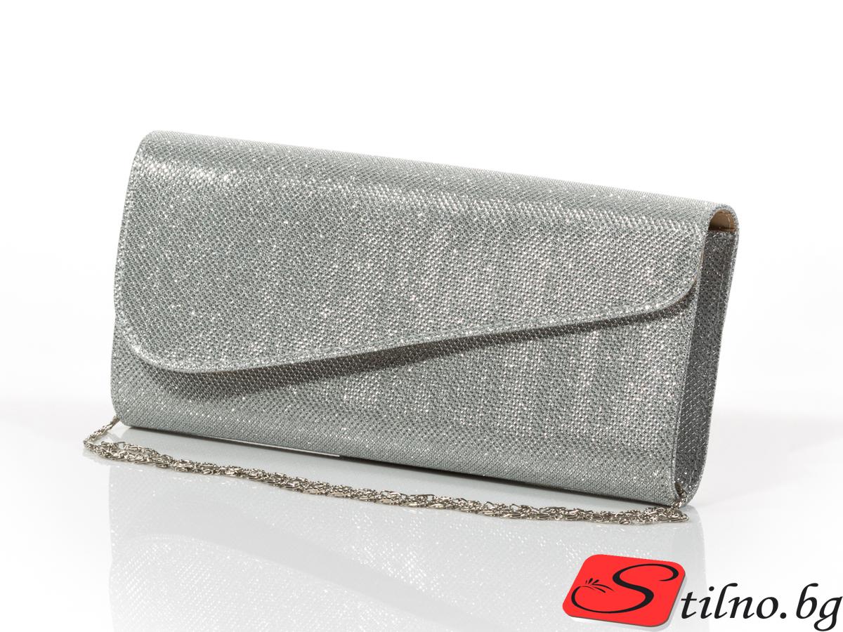 Дамска Официална Чанта Кейт - Сребриста