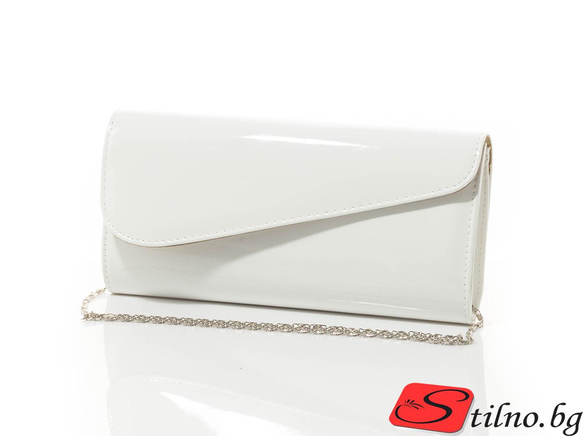 Дамска Официална Чанта Кейт Лак 1510-01 - Бяла