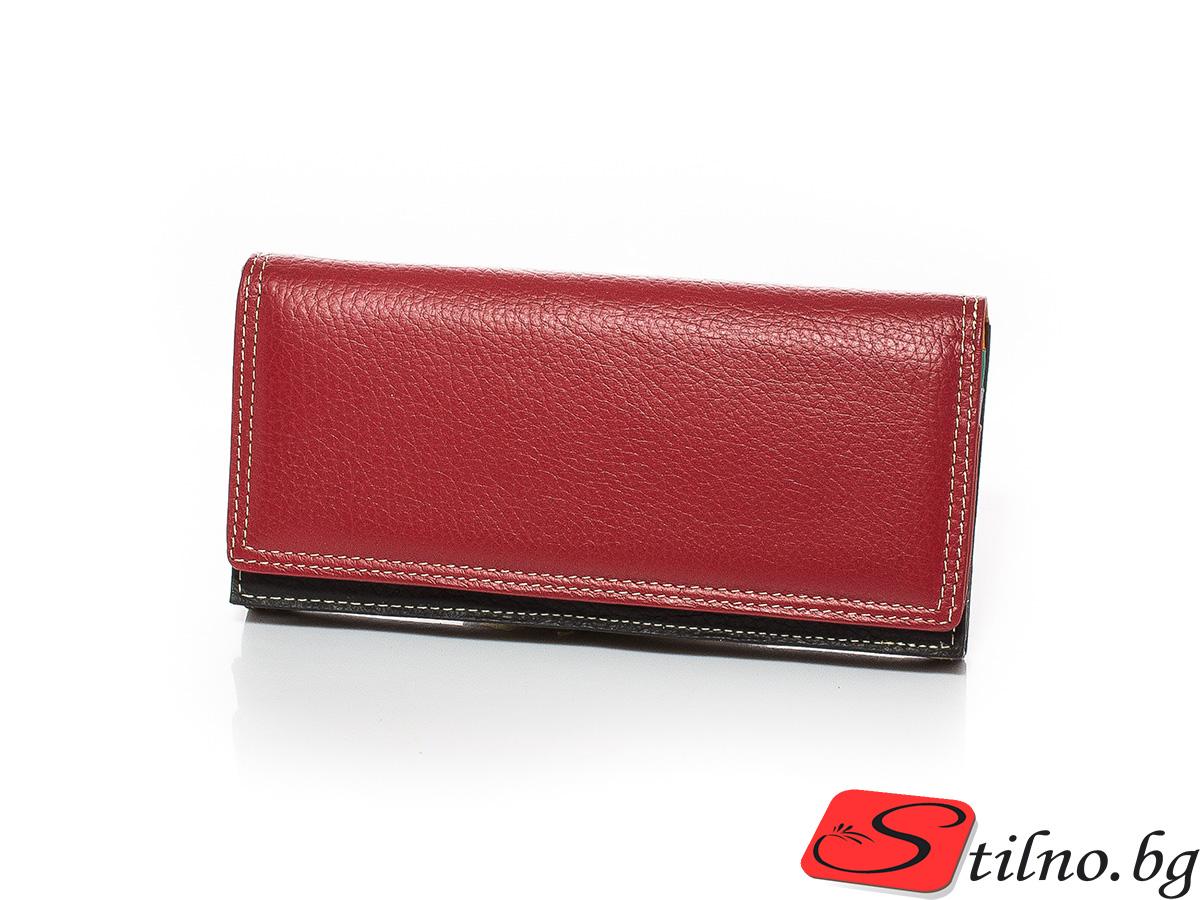 Дамско Портмоне Естествена Кожа A1042-05 - Червено