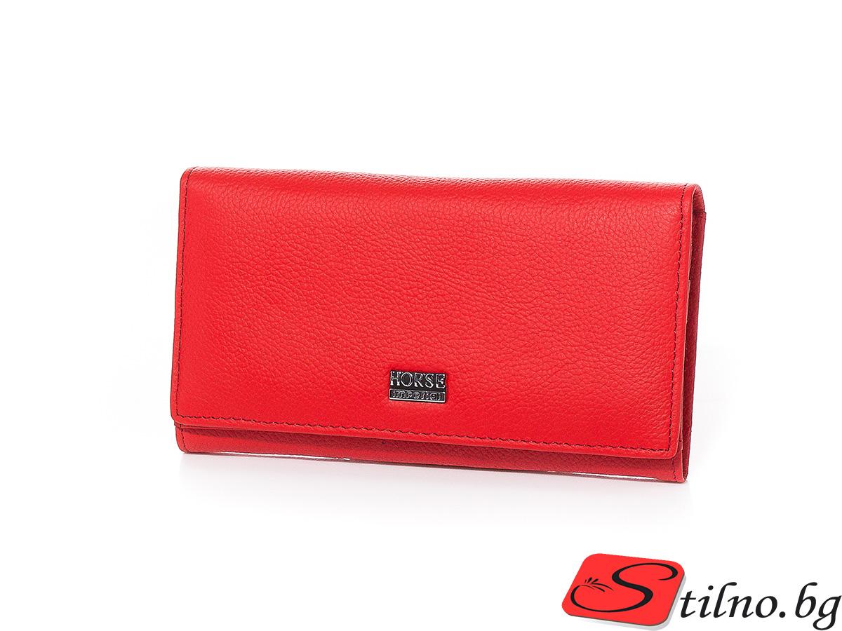 Дамско Портмоне Естествена Кожа А1046-05 - Червено