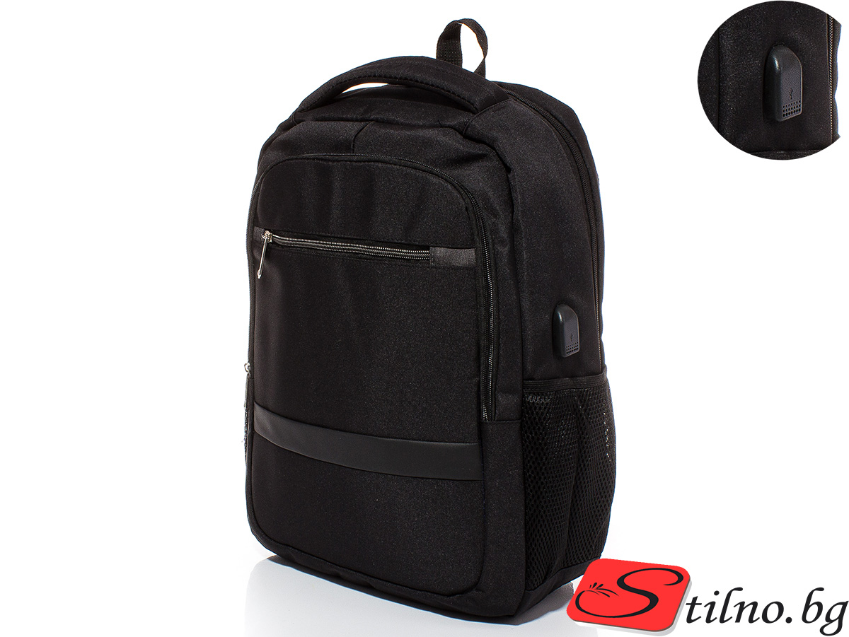 Раница с USB и преграда за лаптоп S3006-08 - Черна