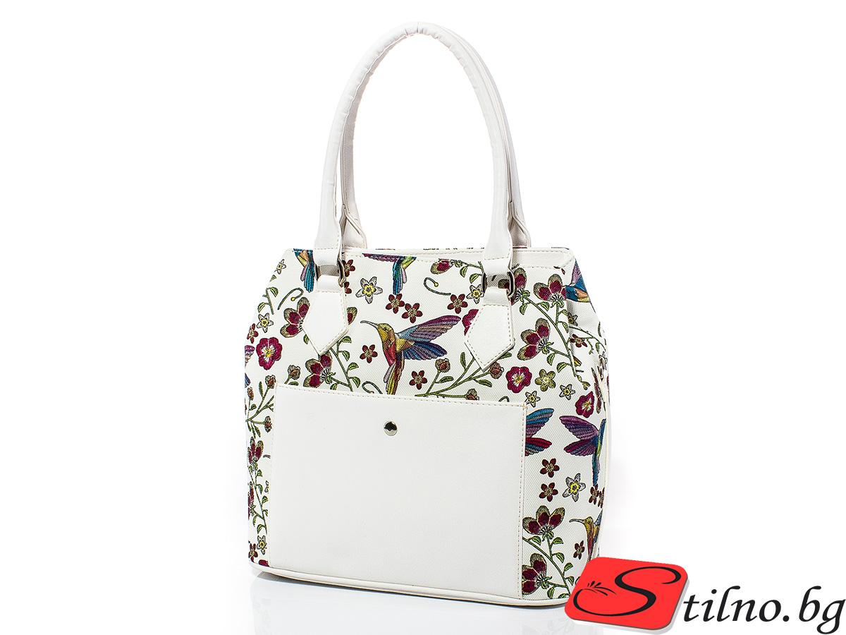 Дамска чанта Инес 1587-01 - Бяла