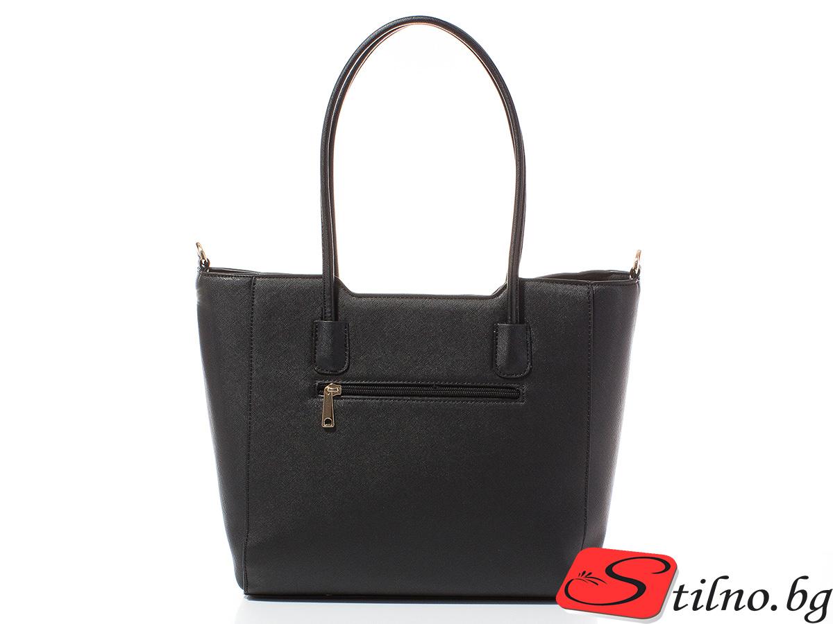 Дамска чанта Лорен Голяма 1607L-08 - Черна