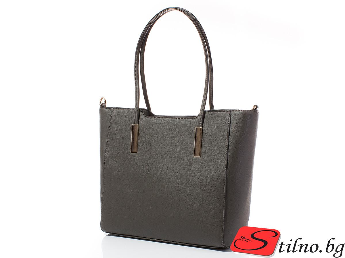 Дамска чанта Лорен Голяма 1607L-34 - Тъмносива