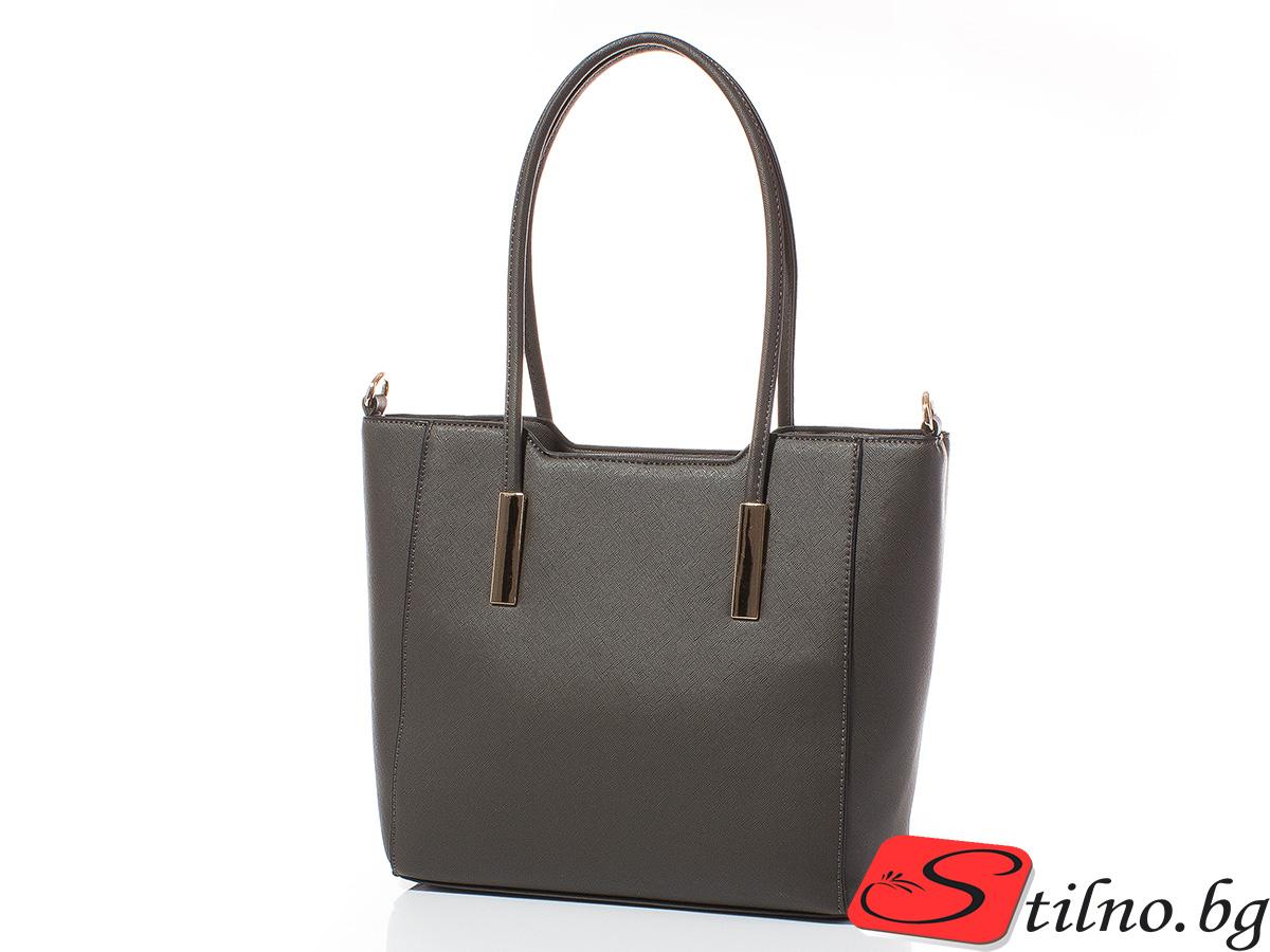 Дамска чанта Лорен Средна 1607M-34 - Тъмносива