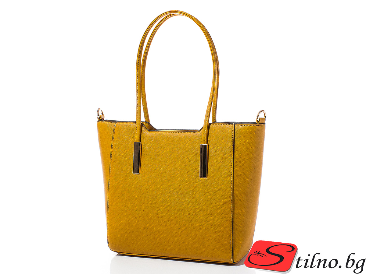 Дамска чанта Лорен Средна 1607M-49 - Горчица