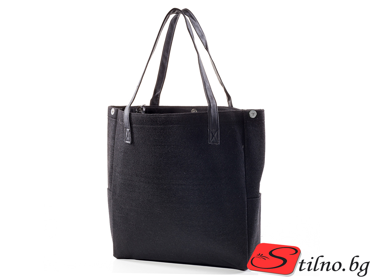 Вълнена чанта 1382-08 - Черна