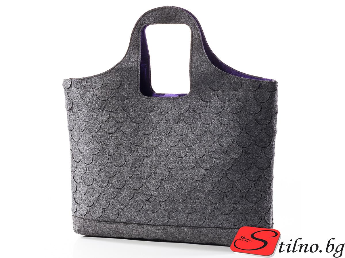 Вълнена чанта 1383-02 - Сива