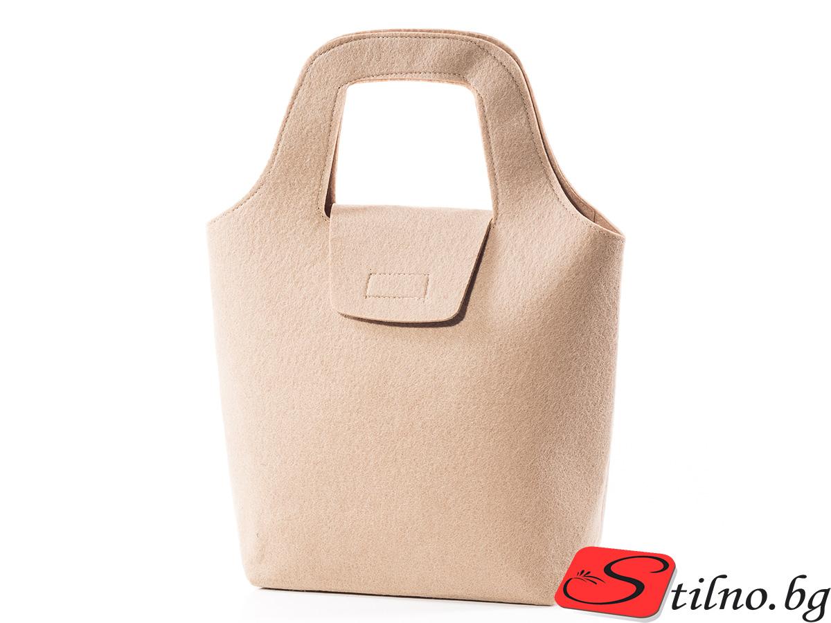 Вълнена чанта 1385-06 - Бежова