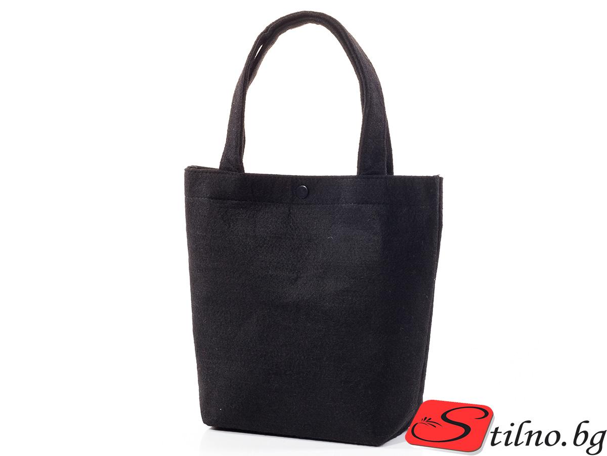 Вълнена чанта 1387-08 - Черна