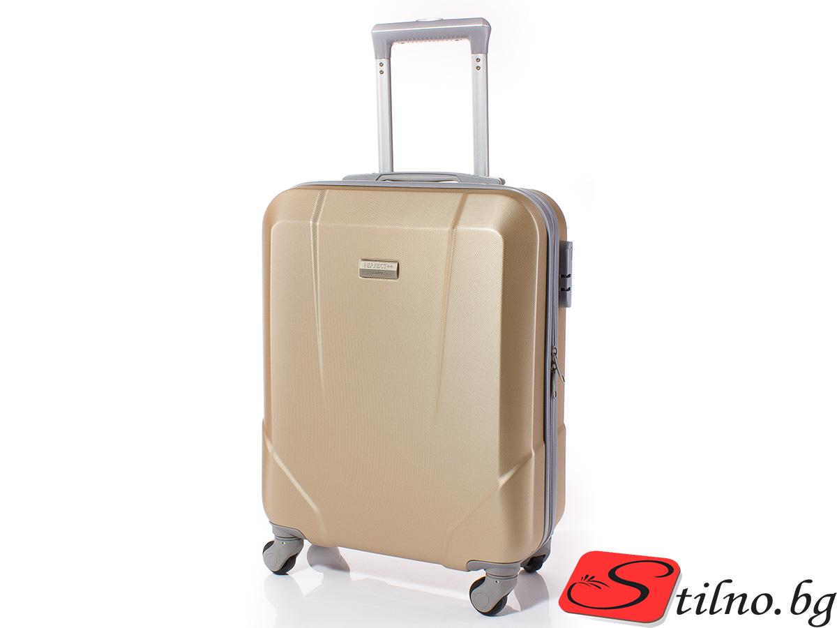 Куфар за ръчен багаж 54/37/20 с колелца 360° T1001-12 - Златист