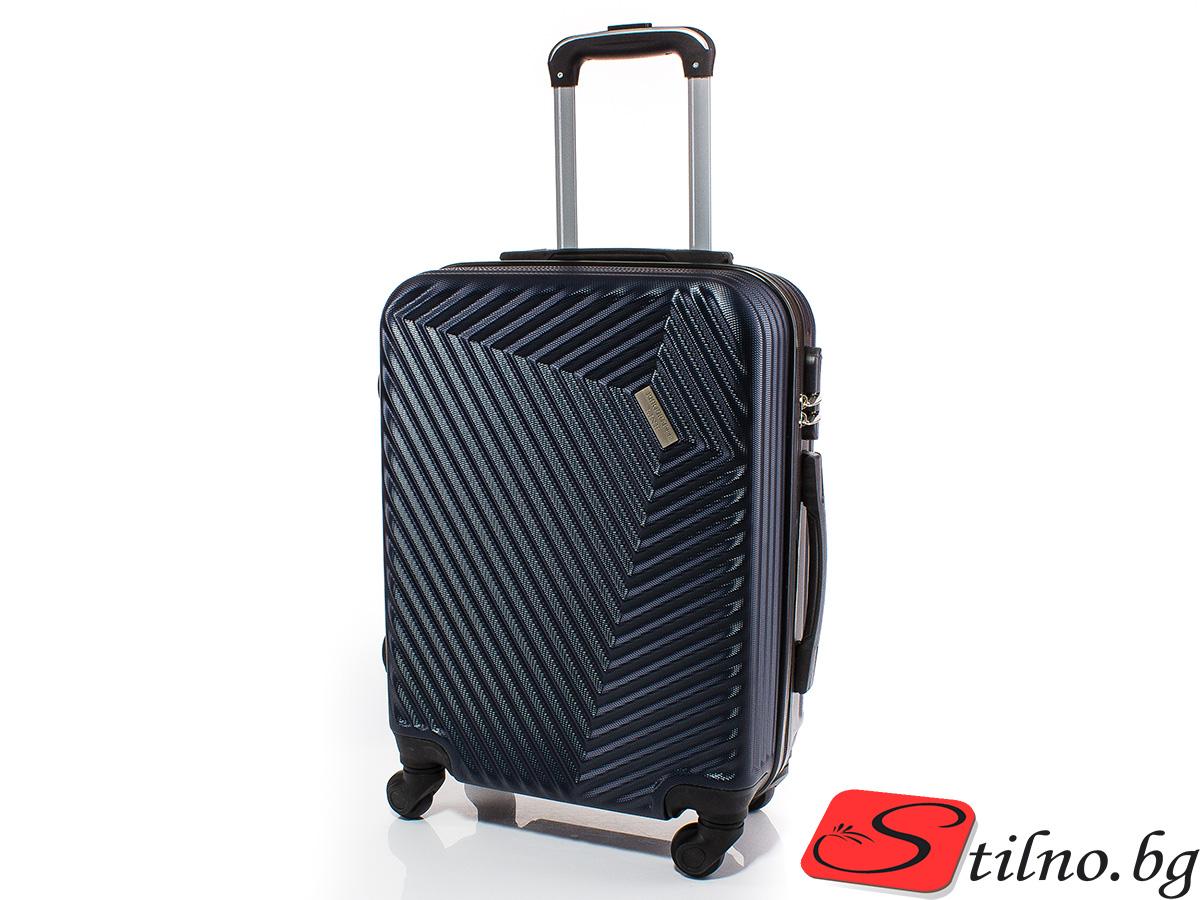 Куфар за ръчен багаж 54/39/20 с колелца 360° T1002-24 - Тъмносин