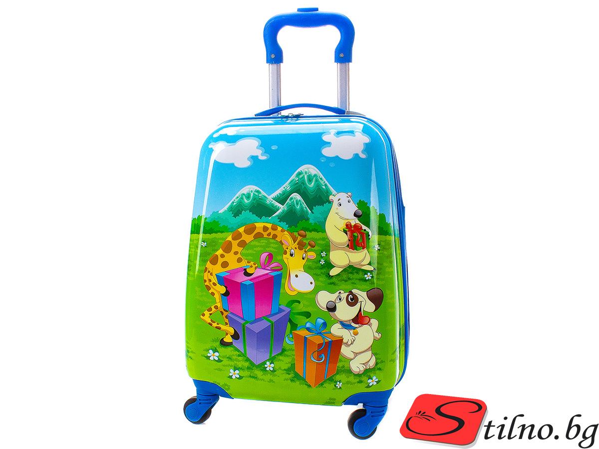 Детски куфар Perfect line 46/30/21 T1013-04 - Син