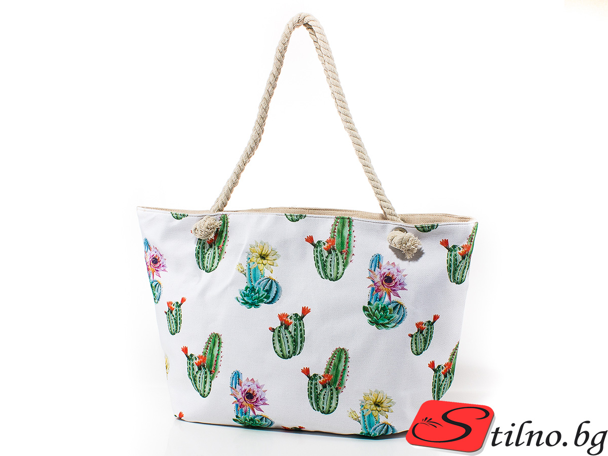 Плажна чанта 5037-01 - Бяла
