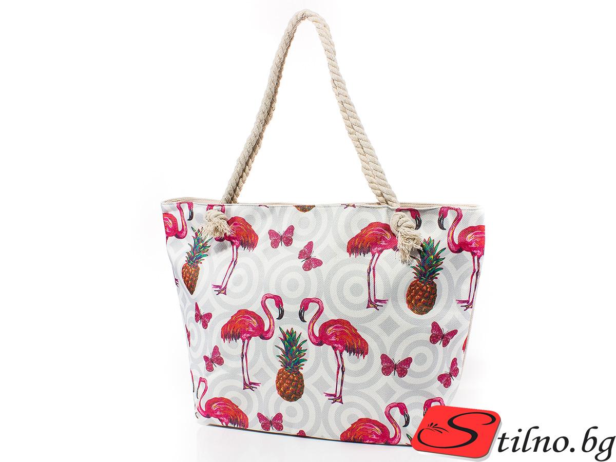 Плажна чанта 5042-01 - Бяла