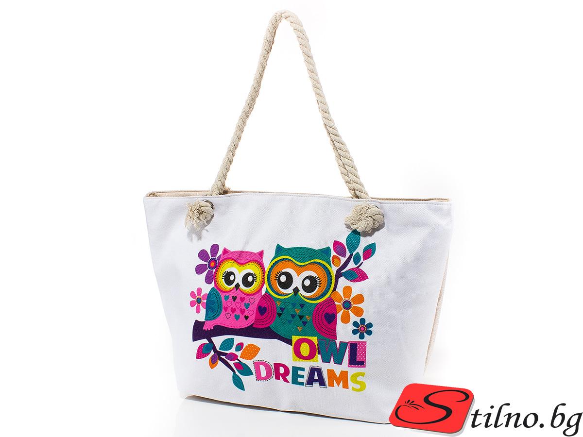 Плажна чанта 5044-01 - Бяла