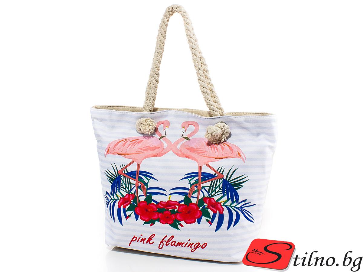 Плажна чанта 5053-01 - Бялa
