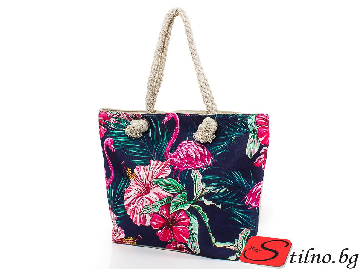 Плажна чанта 5058-24 - Тъмносиня