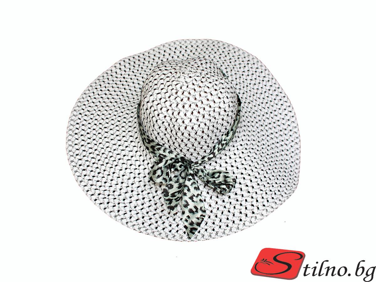 Плажна шапка Бети H1006-00 - Черно и бяло