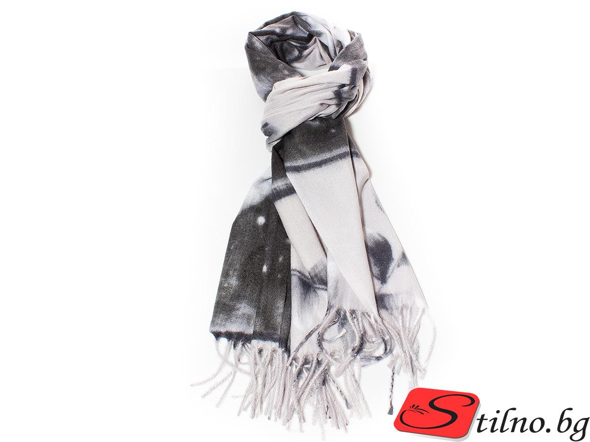 Дамски Шал Кашмир G1035-08 - Черен