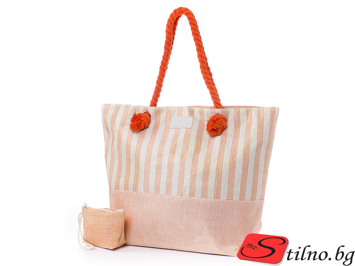 Плажна чанта с Портмоне 5071-14 - Оранжев