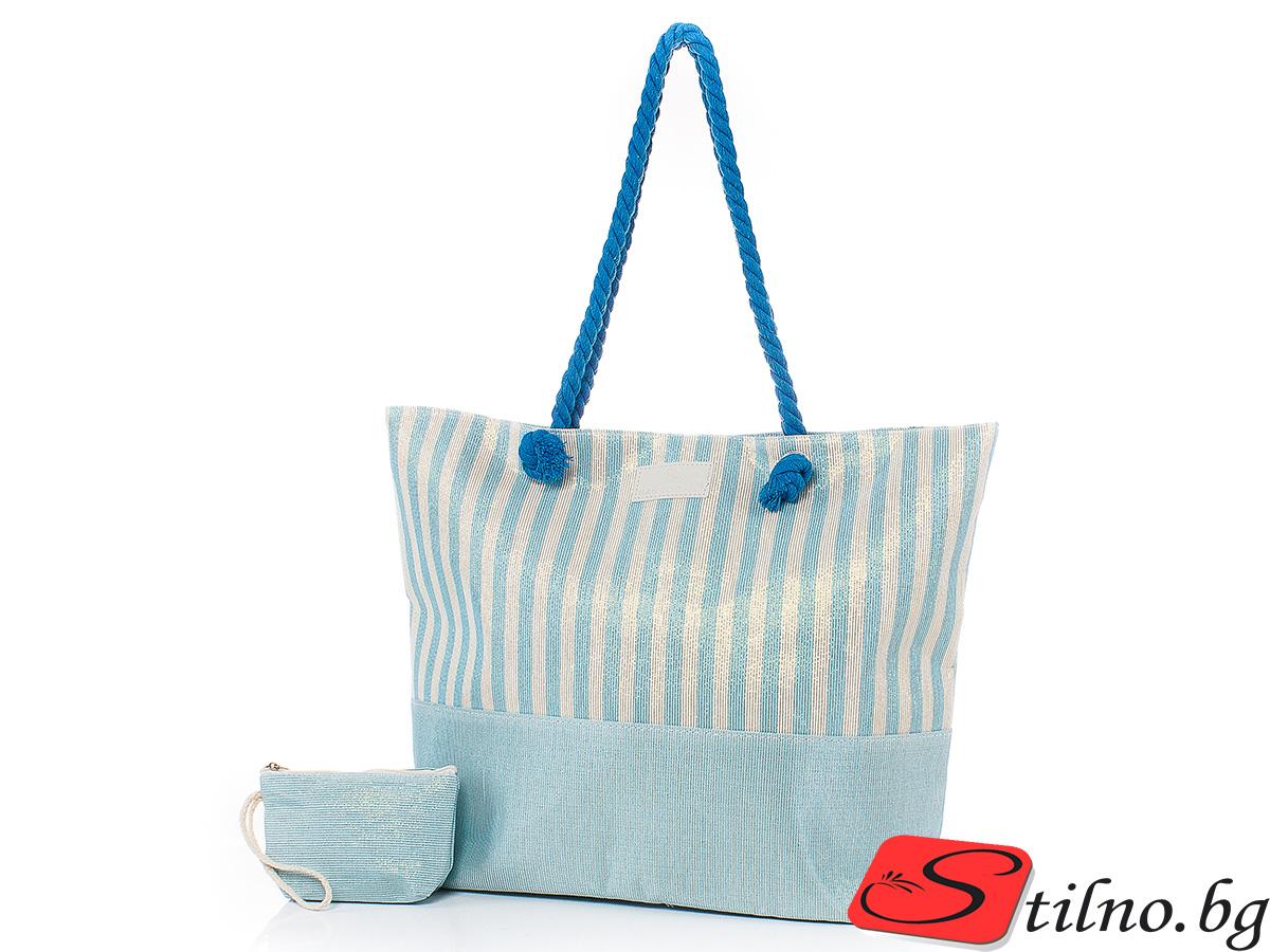 Плажна чанта с Портмоне  5071-26 - Светлосин