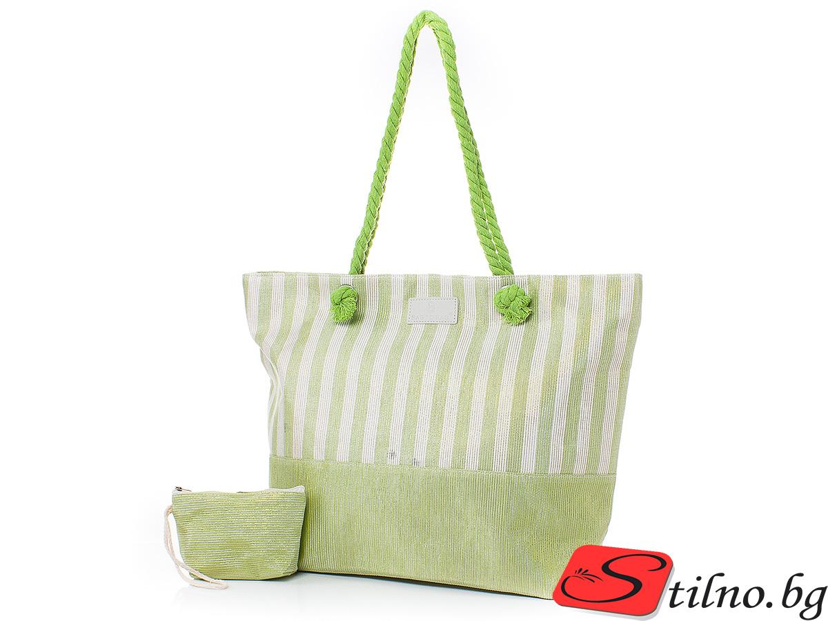 Плажна чанта с Портмоне 5071-09 - Зелен