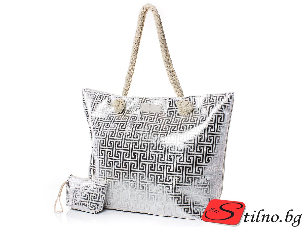 Плажна чанта с Портмоне 5072-11 - Сребрист