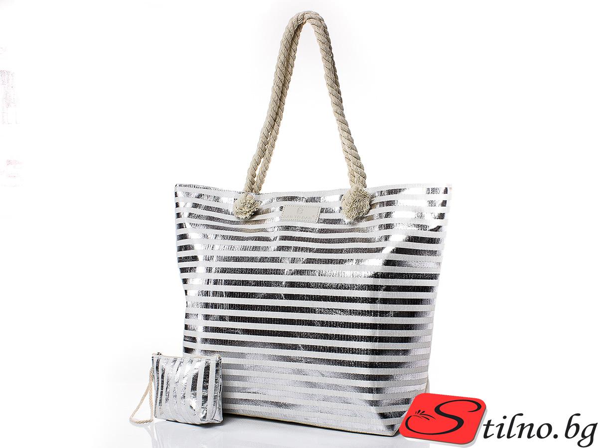 Плажна чанта с Портмоне  5073-11 - Сребрист