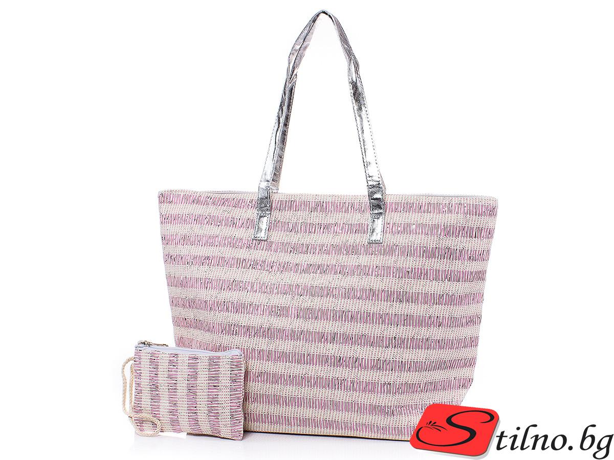 Плажна чанта с Портмоне  5074-07 - Розов